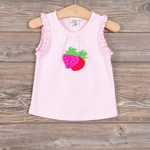 Luigi Kids Strawberries Ruffled Tank