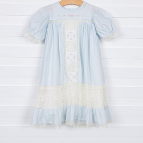 Amelia Heirloom Dress, Blue