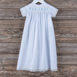 Treasured Memories Lee Daygown, White w/Blue