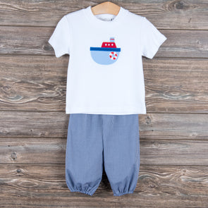 Stitchy Fish Boys Applique Shirts (5 options - Tugboat, Dino, Tractor, Baseball, Firetruck)