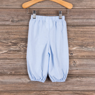 Boys Bloomer Pant, Light Blue Gingham