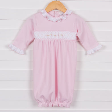 Rosy Smocked Gown