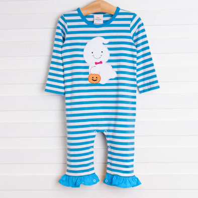Boo! Ghost Girl Romper, Blue Stripe