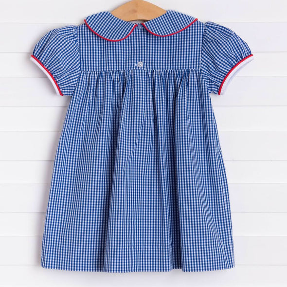 Color Me Happy Applique Dress, Blue