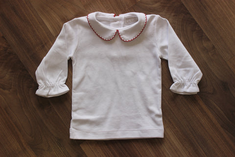 Stitchy Fish Girls Long Sleeve Peter Pan Collar Shirts - 3 Colors