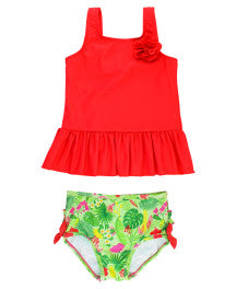 Ruffle Butts Poppy Red Puerto Vallarta Peplum Tank Bikini