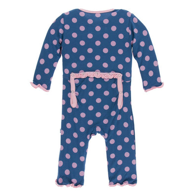 Kickee Pants Print Muffin Ruffle Coverall w/Zipper - Twilight Dots