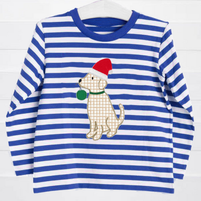 Puppy Holiday Blue Stripe T-Shirt