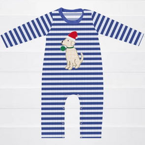 Puppy Holiday Blue Stripe Romper