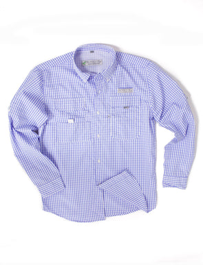 Properly Tied Performance Fishing Shirt Light Blue Gingham