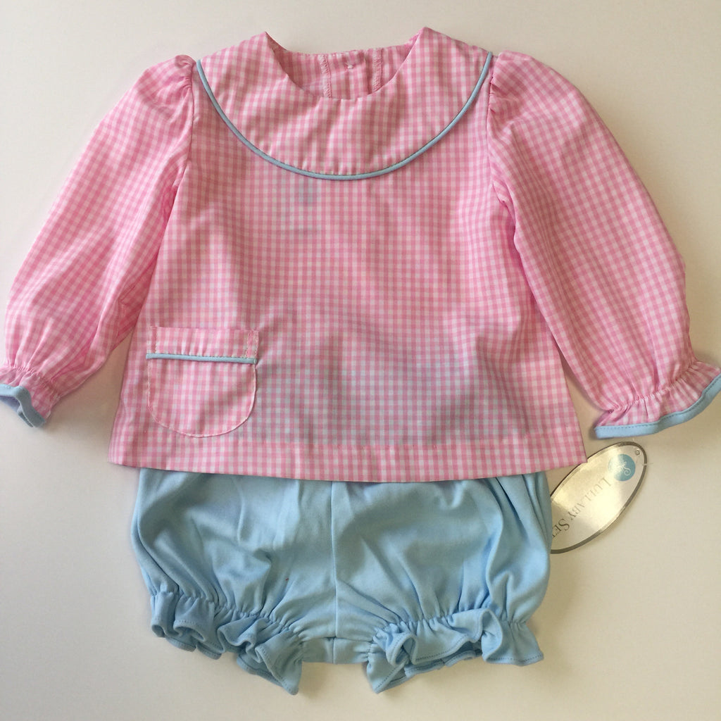 Lullaby Set Large Pink Gingham Yoke Top Short Set