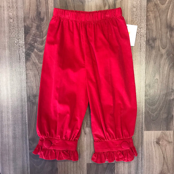 Stitchy Fish Girls Red Cord Covered Button Pants