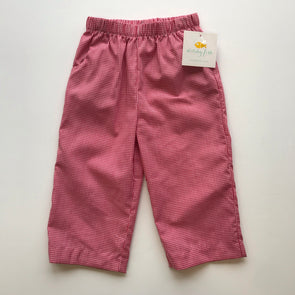 Stitchy Fish Straight Pant w/Pocket-Red Gingham