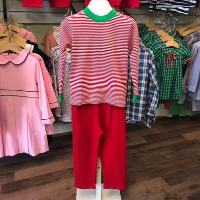 Squiggles Red/White Stripe Pant Set with Green Trim