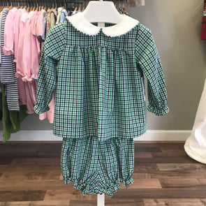 Anvy Kids Green/Royal Plaid Bloomer Set