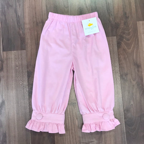 Stitchy Fish Pink Cord Covered Button Pant