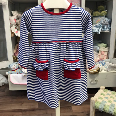 Stitchy Fish Popover Dress-Royal/Red Stripe