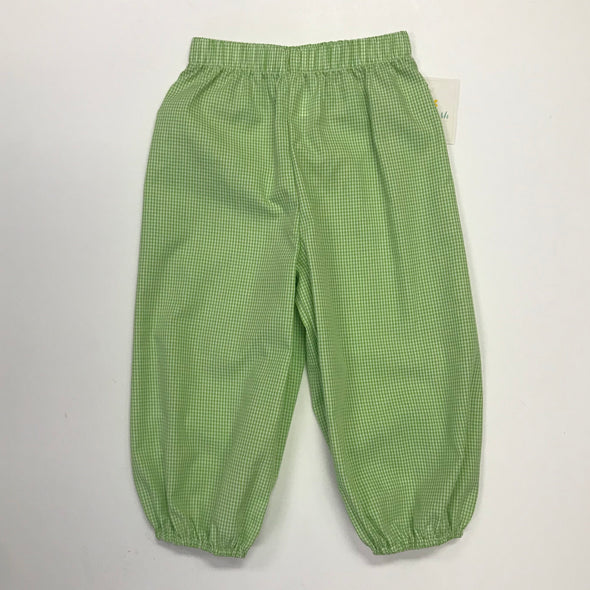 Stitchy Fish Bloomer Pant-Lime Green Gingham
