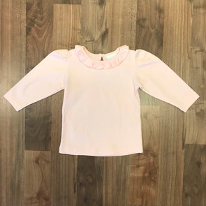 Stitchy Fish Pink Ruffle Collar Shirt