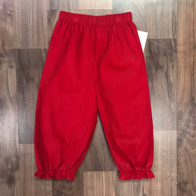 Stitchy Fish Girls Red Cord Bloomer Pant w/Ruffle