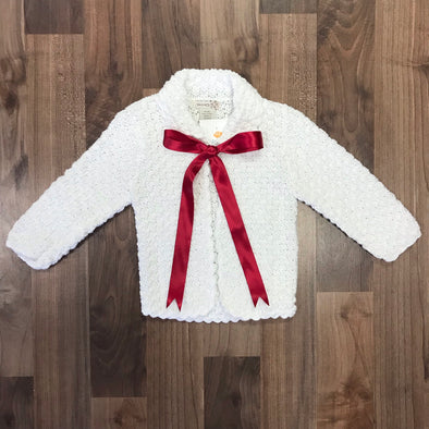 2H Hand Knits Box Stitch Ribbon Tie Sweater (2 Color Options)