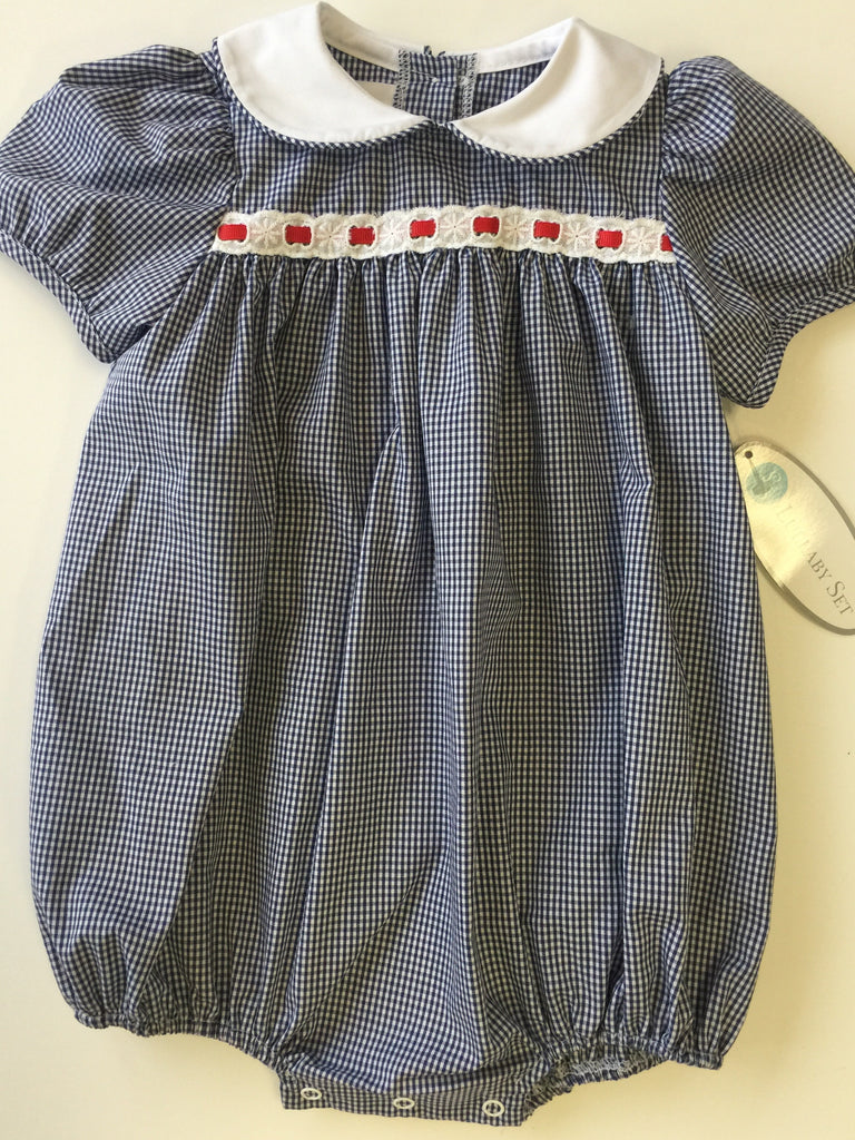 Lullaby Set Navy Mini Gingham with White Eyelet and Red Ribbon Bubble