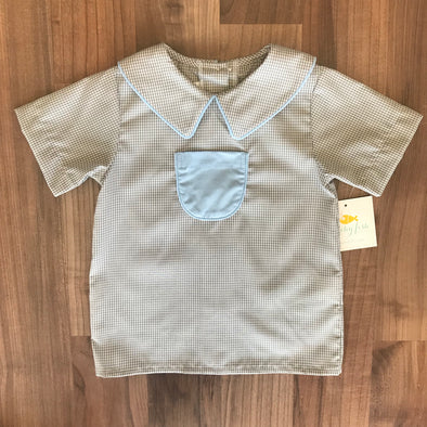 Stitchy Fish Miller Pocket Top-Grey w/Light Blue Accents