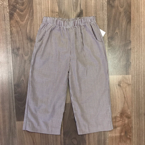 Stitchy Fish Brown Gingham Straight Pants