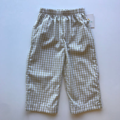 Stitchy Fish Check Straight Leg Pant-Tan/White