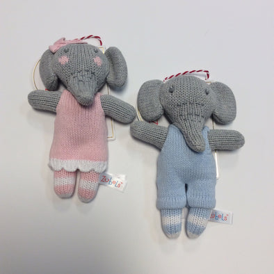 "Zubels 7"" Elephant Rattle (Pink and Blue)"