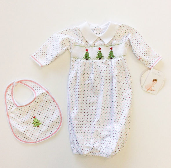 "Magnolia Baby ""O Christmas Tree""  Smocked Pleated Gown"