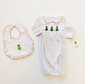"Magnolia Baby ""O Christmas Tree""  Smocked Gathered Gown"