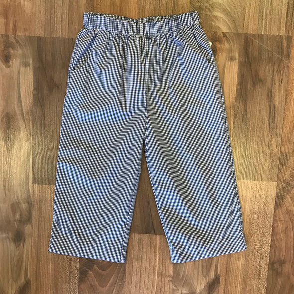 Stitchy Fish Boys Navy Gingham Straight Pants w/Pockets