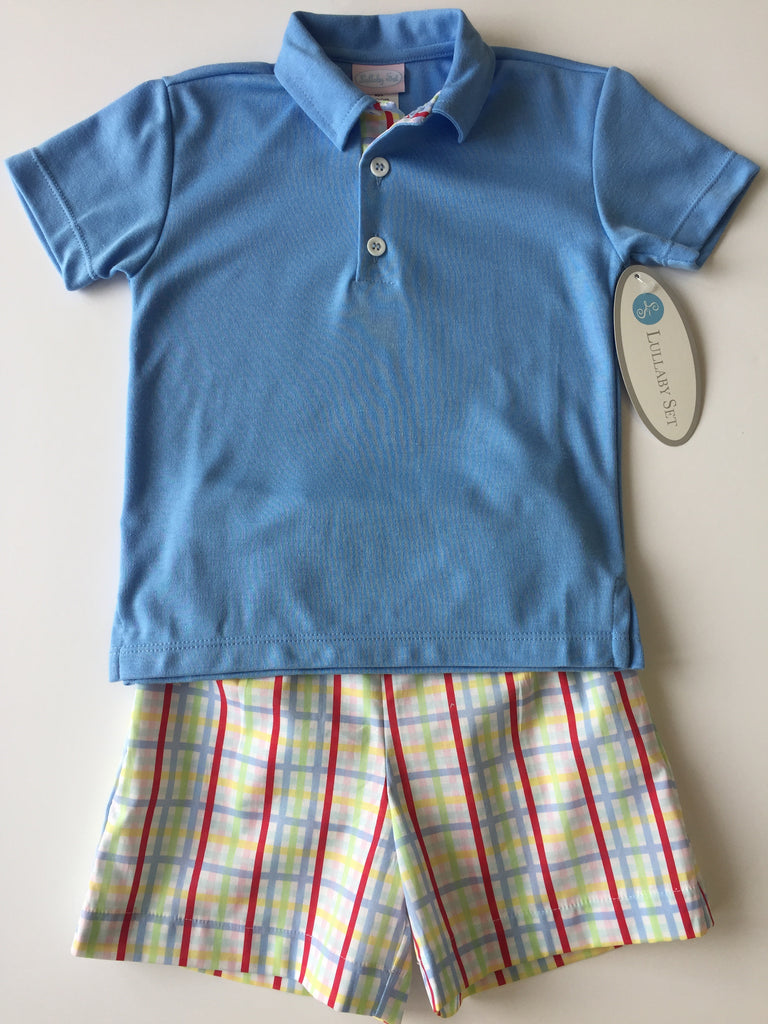 Lullaby Set Boy Short Set - Plaid