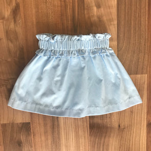 Stitchy Fish Gathered Skirt-Light Blue Cord