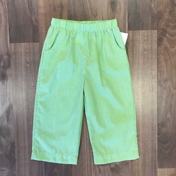 Stitchy Fish Boys Lime Green Gingham Straight Pant