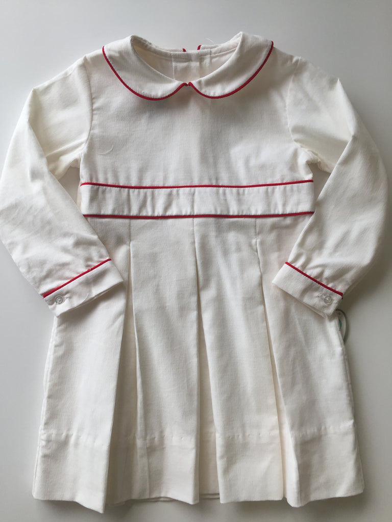 Lullaby Set White Cord with Red Piping Dress