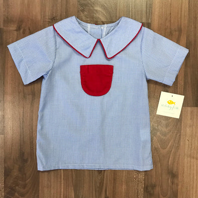 Stitchy Fish Miller Pocket Top- Gingham with Red Pocket