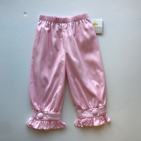 Stitchy Fish Girls Banded Pant w/Covered Button-Pink Pique