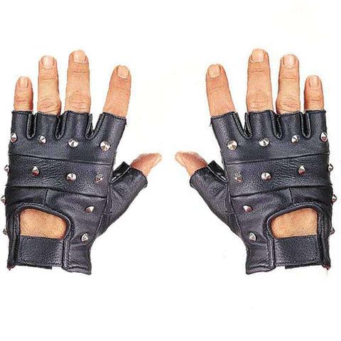 Leather Fingerless Gloves - Studded Black