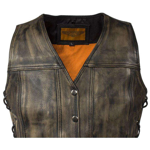 Women's Biker Vest - The Sovereign (Dark Distressed Brown)
