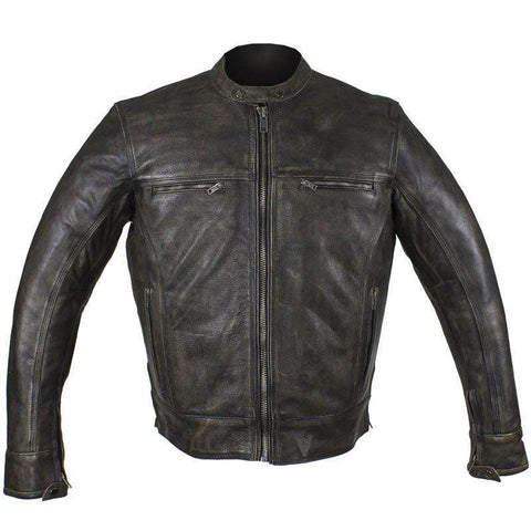 Biker Jacket - Racer Jacket - Distressed Dark Brown