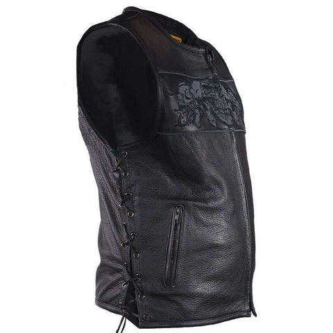 Men's Biker Vest - Nightskull Vest - Split Leather