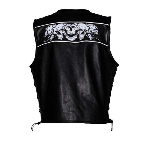 Men's Biker Vest - Nightskull Vest - Premium Leather