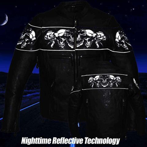 Nightskull Reflective Jacket - Leather