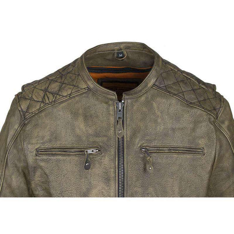 Biker Jacket - Racer Jacket - Distressed Light Brown