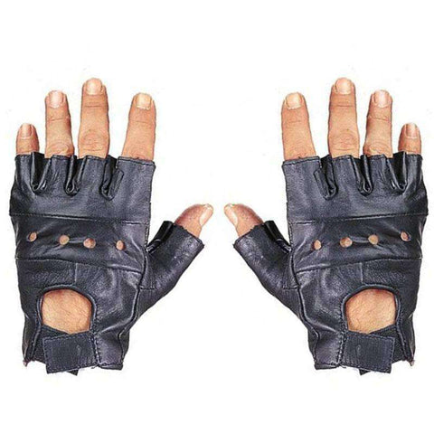 Leather Fingerless Gloves - Black