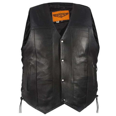 Men's Biker Vest - To-Go Vest - Naked Cowhide Leather