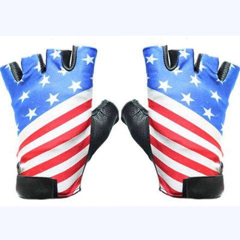 Leather Fingerless Gloves - USA Flag