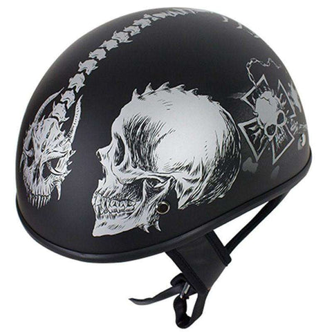 Helmet - Lo-Profile Horned Grey Skulls Helmet